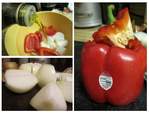 peppers, oil, and onions