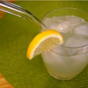 Sugar-free lemonade with ice in glass