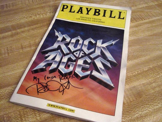 signed playbill from rock of ages