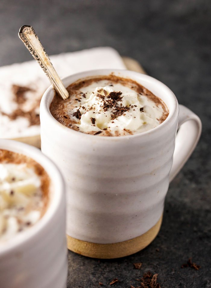 Dairy Free Hot Chocolate with spoon in white mug