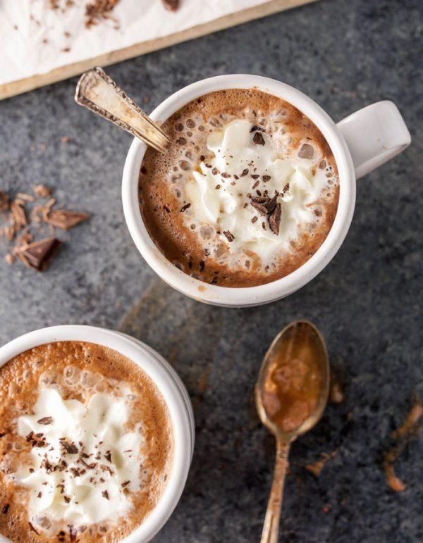 healthy hot chocolate in mug overhead