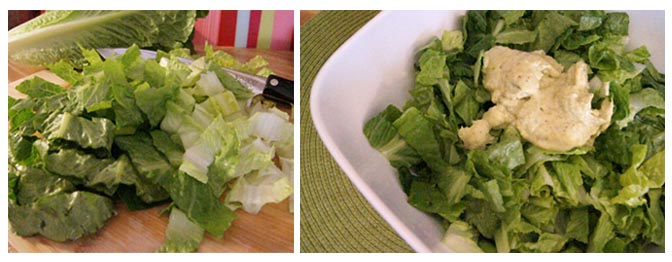 chopped romaine with dressing on top
