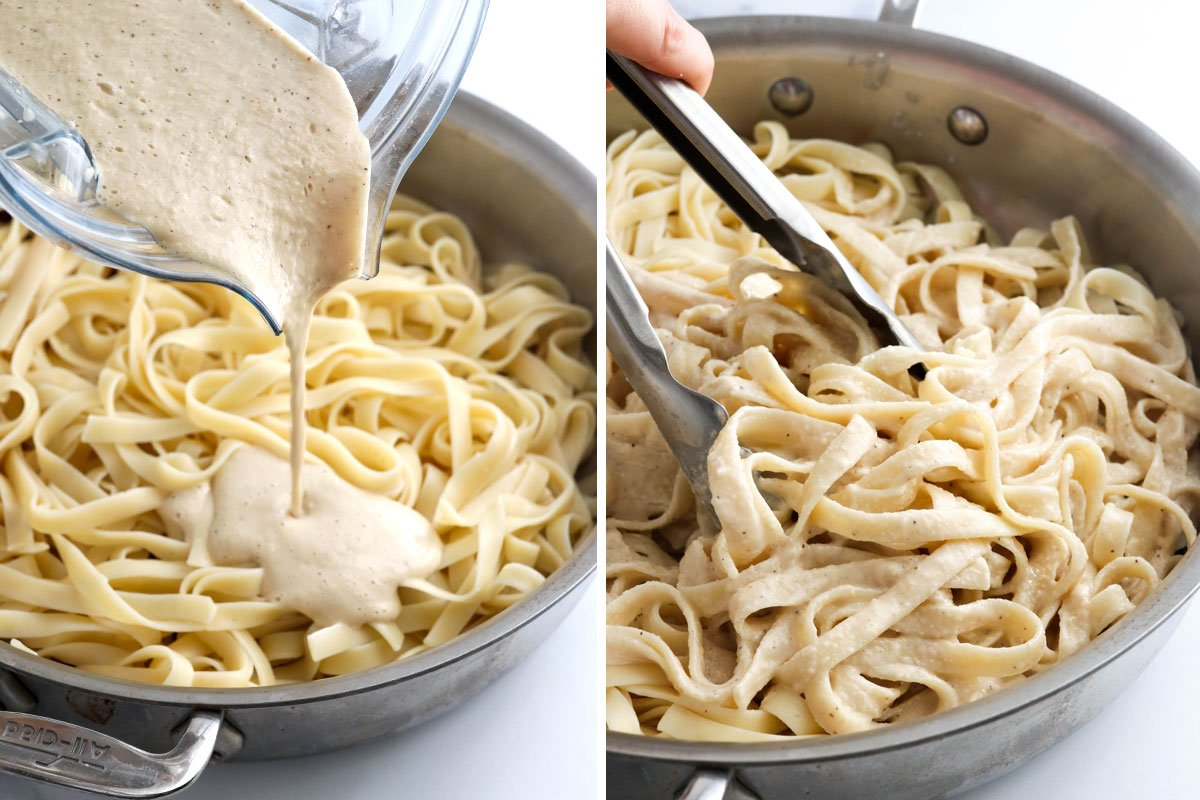 sauce poured over noodles in pan