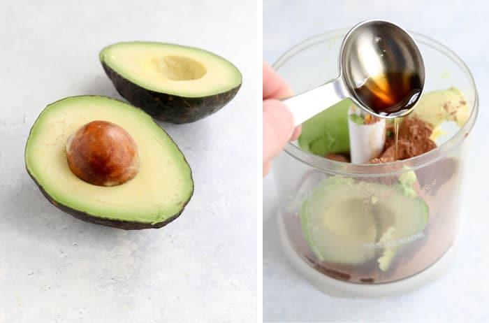 avocado going into a mini food processor