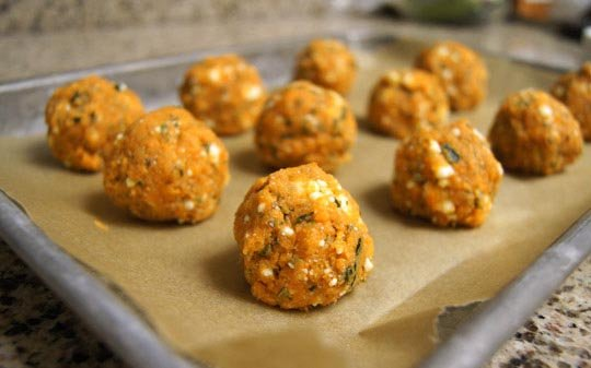 uncooked (meat)less balls on parchment paper