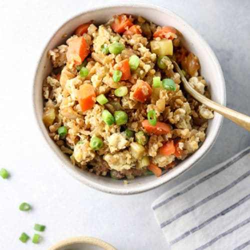 cauliflower fried rice in a bowl