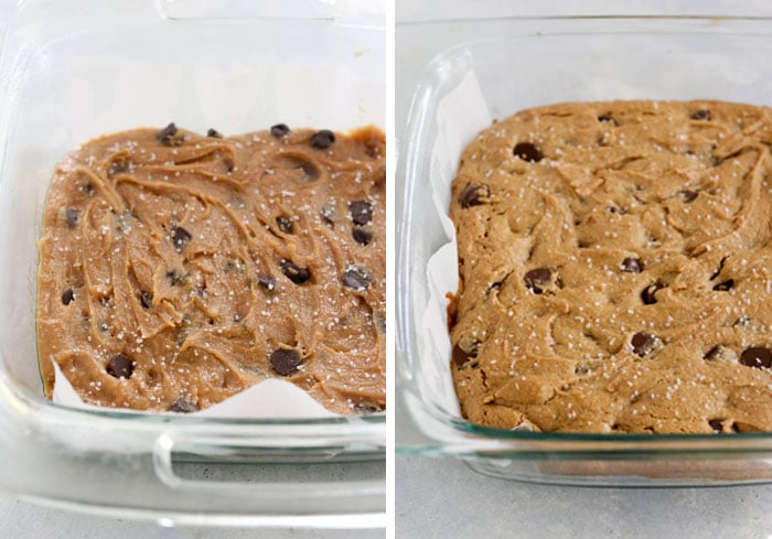 before and after baking blondies