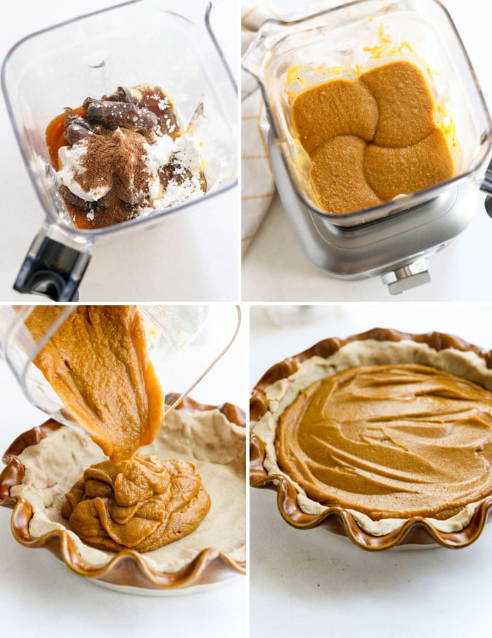 how to make vegan pumpkin pie in the blender step by step