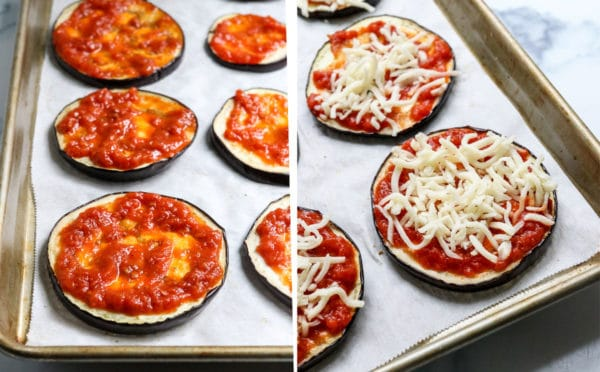 eggplant topped with marinara and cheese