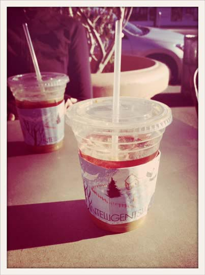 iced coffee in a cup with a straw