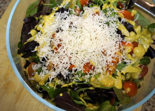 salad topped with cheese