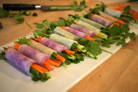 "Raw Veggie ""Spring Rolls."""