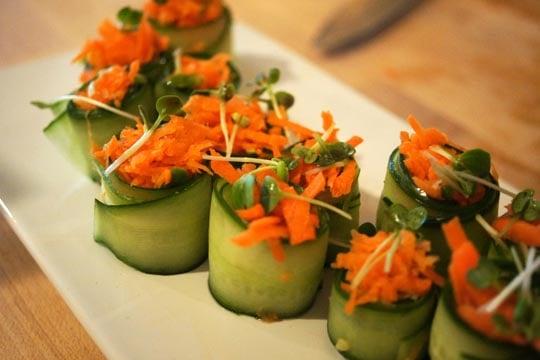 Raw cucumber & avocado rolls.