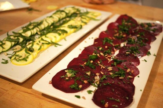Beet and zucchini carpaccio, with fresh herbs and seeds