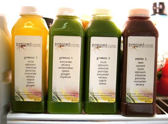 bottles of pressed juice