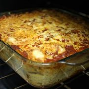 Eggplant and goat cheese lasagna in a pan