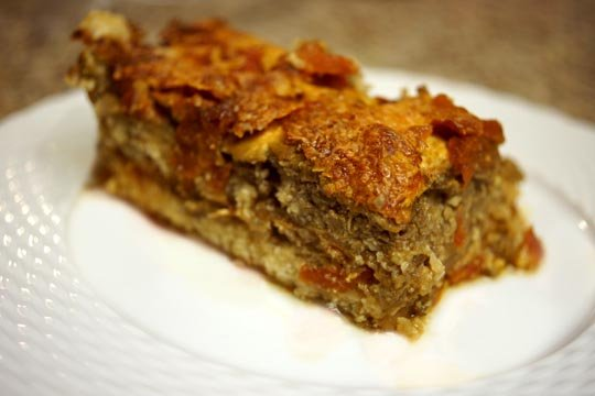 slice of eggplant and goat cheese lasagna on a plate