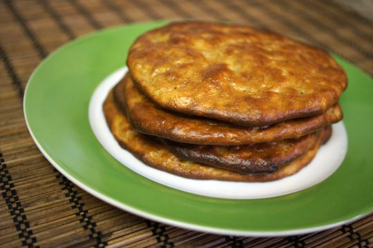 stack of paleo pancakes on a plate
