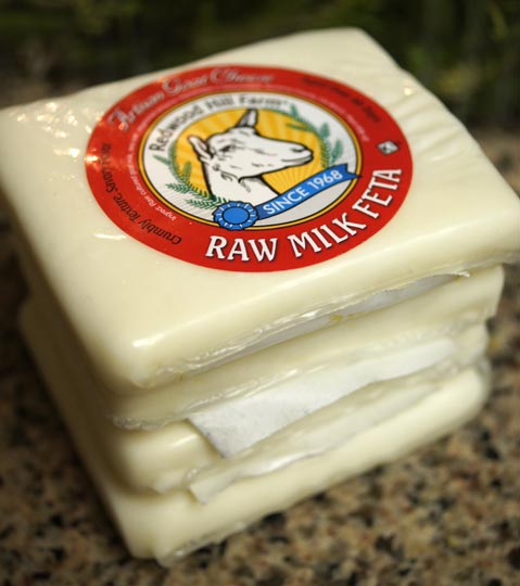 packages of raw milk feta