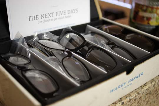 box of warby parker glasses