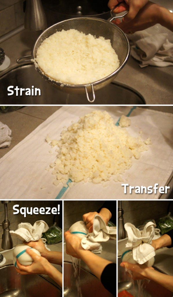 straining, transfer, and squeezing cauliflower rice