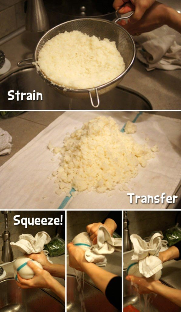 straining and squeezing cauliflower rice