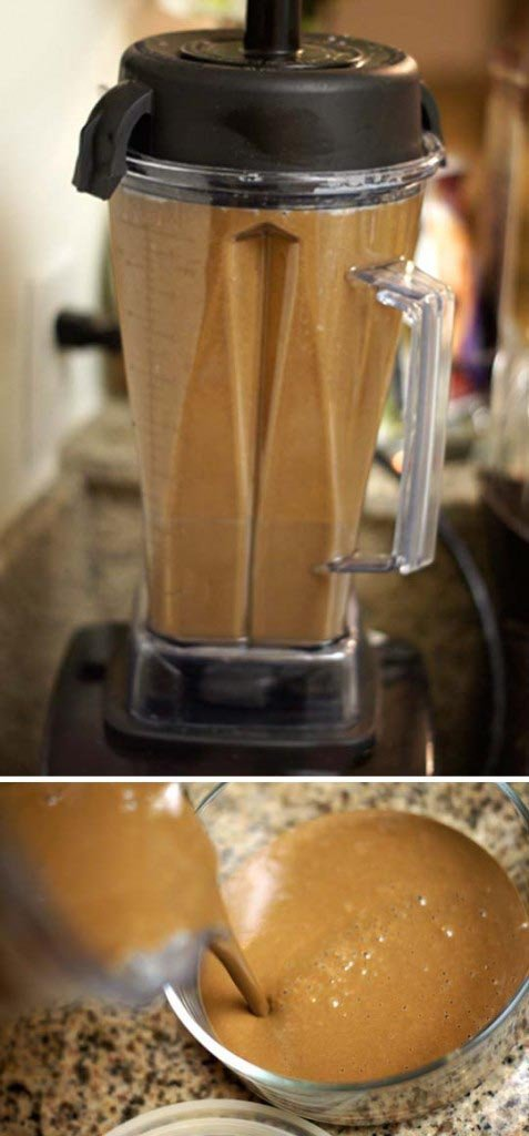 blending chocolate mousse in a blender
