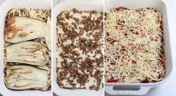 final layers of eggplant lasagna in pan