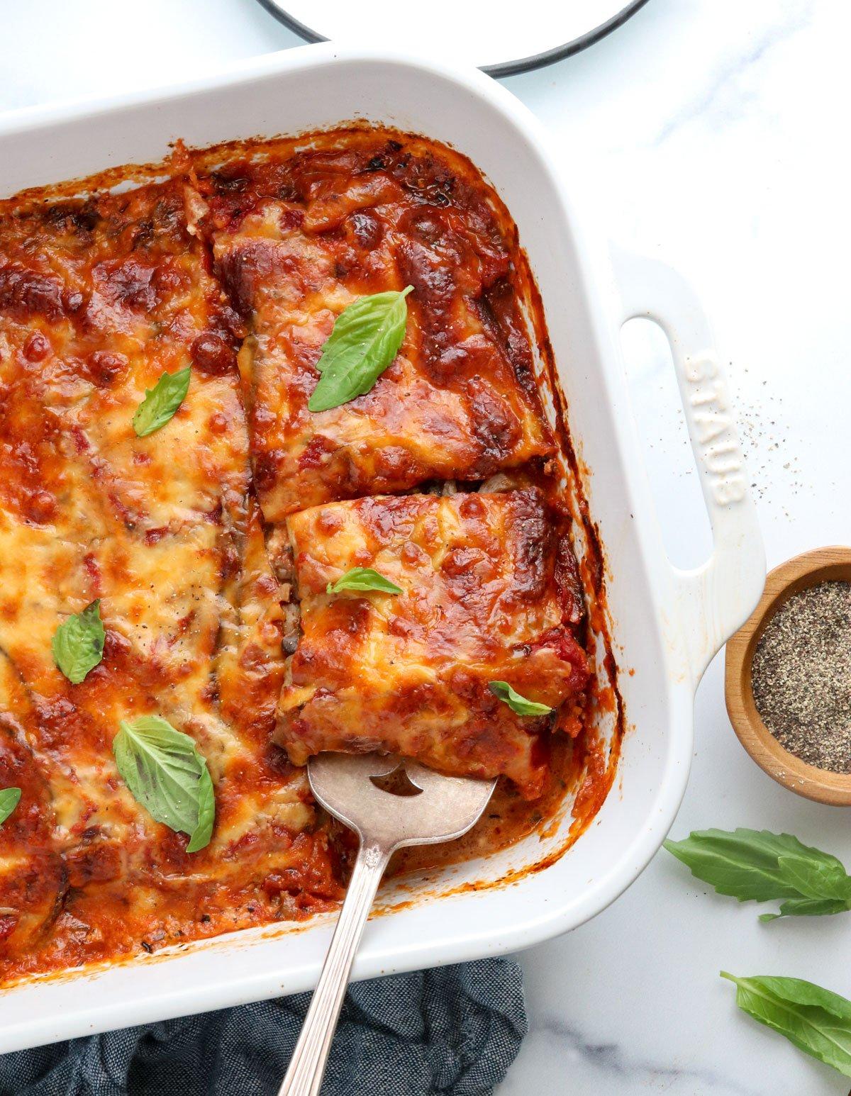 eggplant lasagna in pan