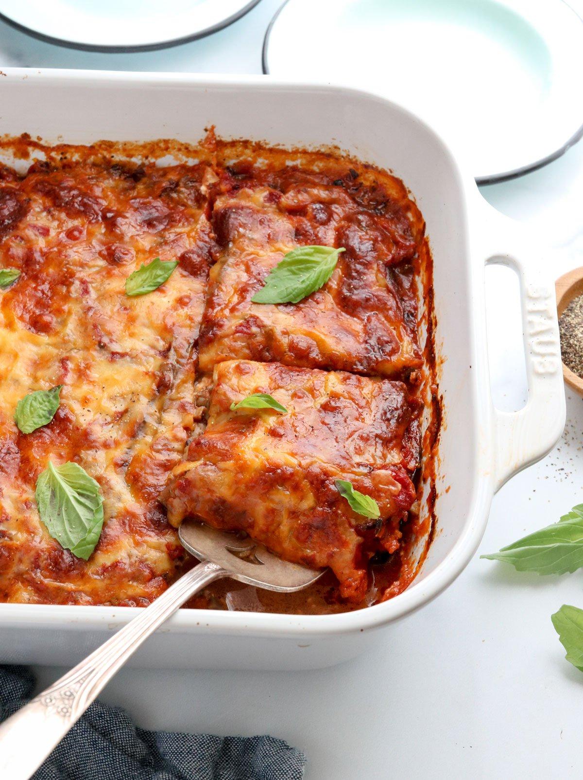 eggplant lasagna lifted up with spatula