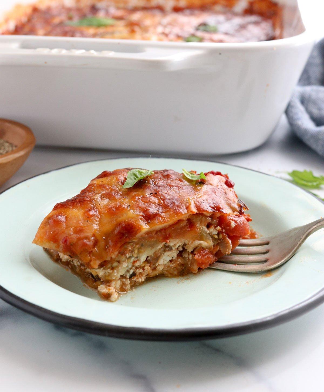 slice of eggplant lasagna on plate
