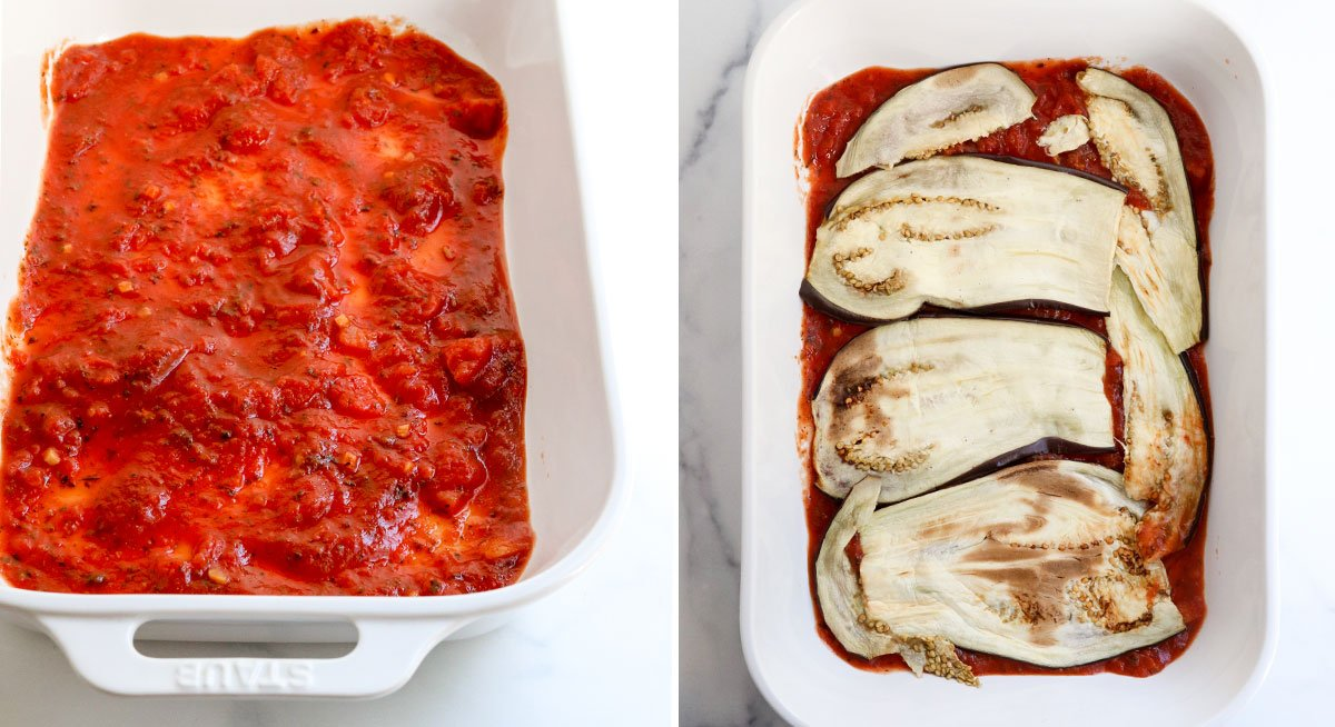 marainara and eggplant slices in pan