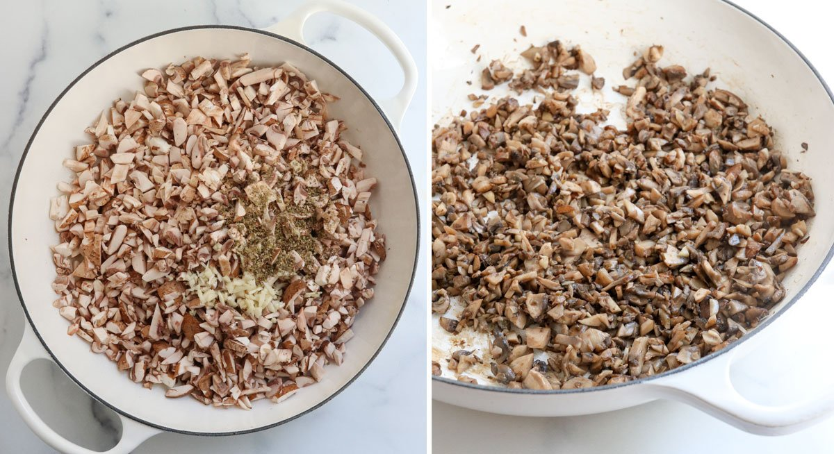 chopped mushrooms sauteed in large white pan