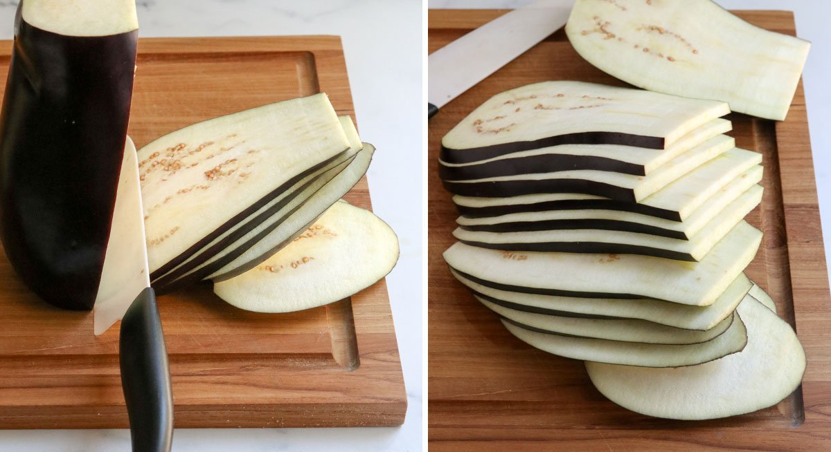 how to slice eggplant for lasagna