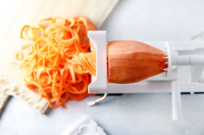 inspiralizer making sweet potato noodles
