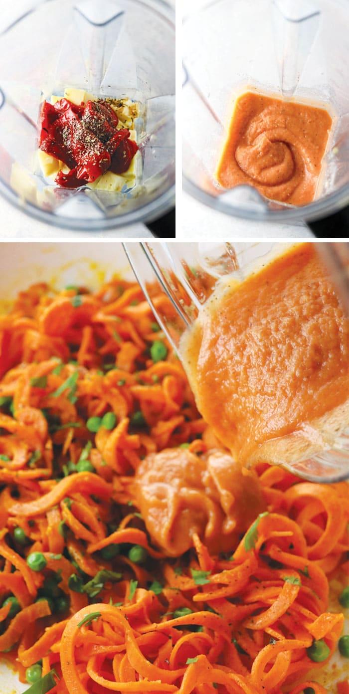 vegan red pepper sauce over sweet potato noodles