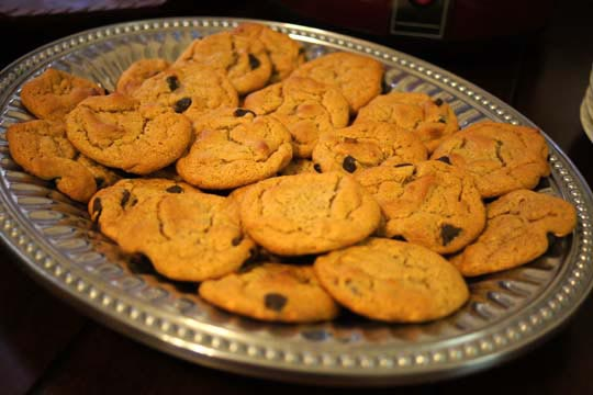 flourless peanut butter chocolate chip cookies on a platter