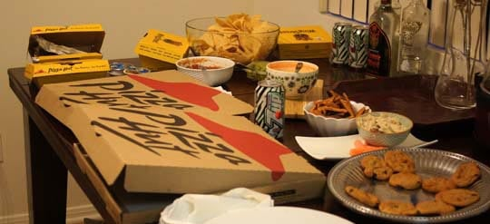 pizza boxes on a table