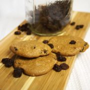 cinnamon raisin cookies on wood board