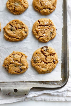 flourless peanut butter cookies on baking sheet