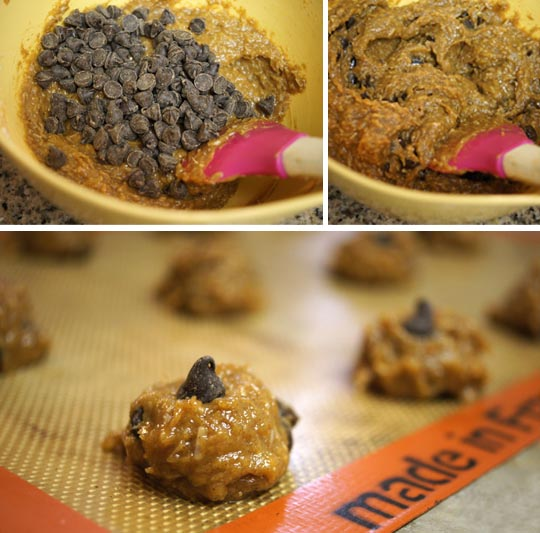 mixing chocolate chips in cookie batter and scooping it onto a cookie sheet