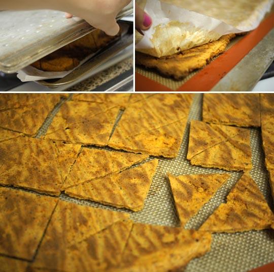 baked Vegan Nacho Cheez-Its on a pan
