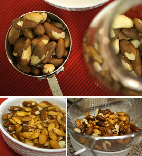 mix of Brazil nuts and raw almonds in a measuring cup and in a bowl