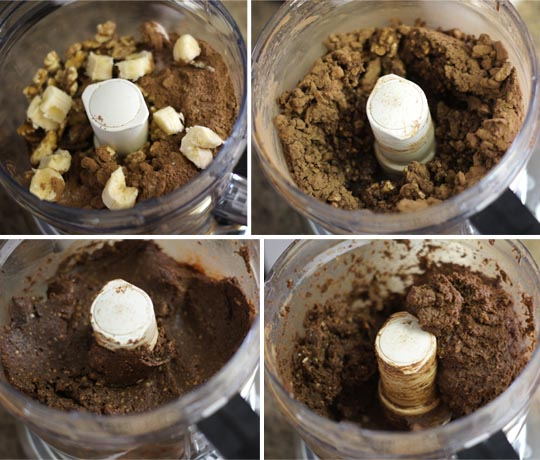 mixing brownie batter in a food processor