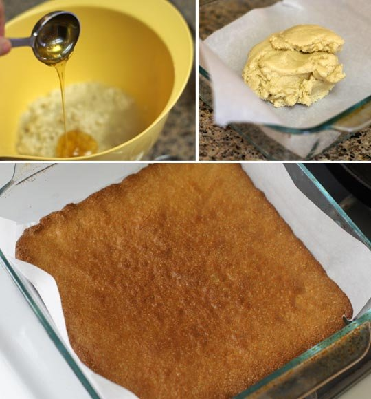 mixing somoa batter and baking it in a square pan
