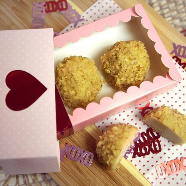 cheesecake truffles in a valentine box