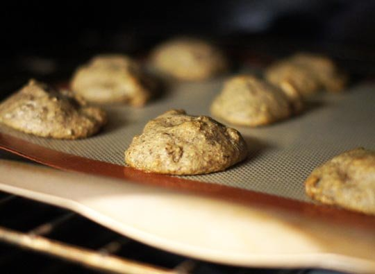 banana walnut bread cookies baking in the oven