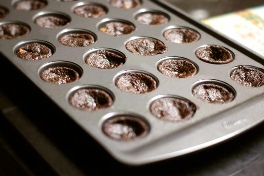 cooked brownie bites in a small muffin tin