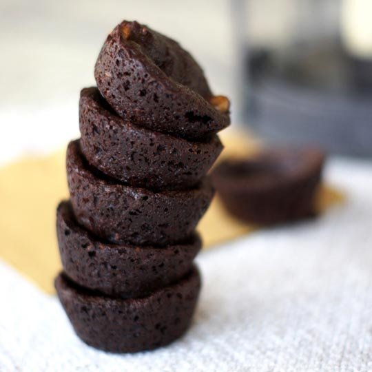 grain free brownie bites stacked on each other