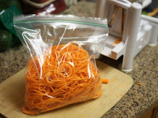 spiralized sweet potato noodles in a ziploc bag